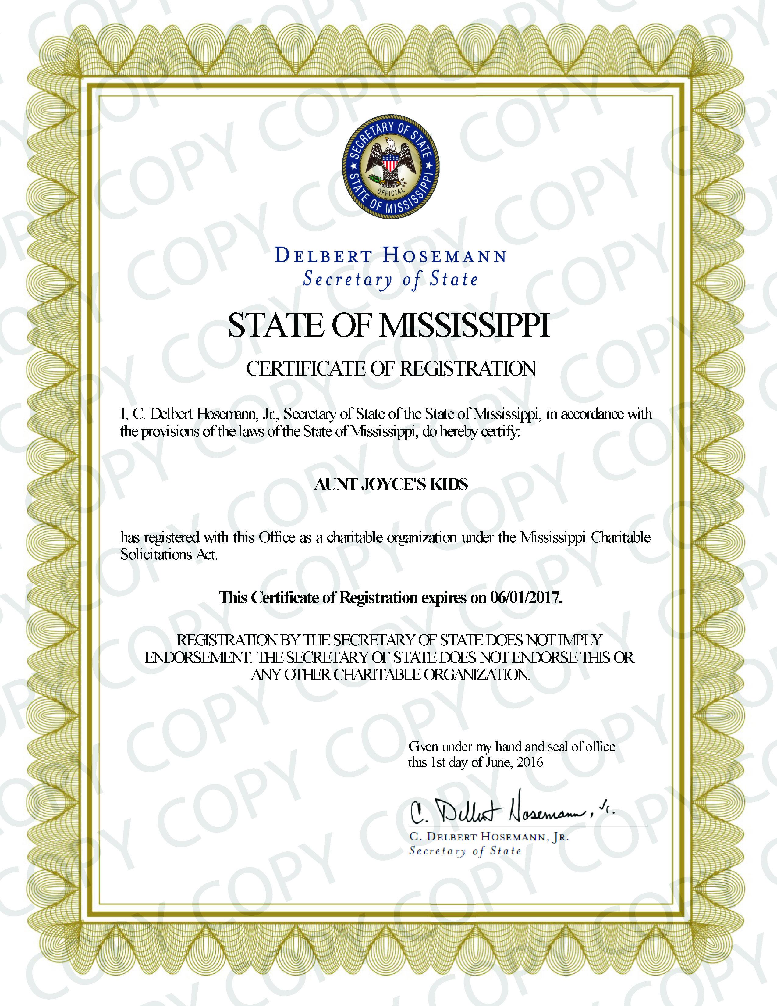 Secretary of State Certificate